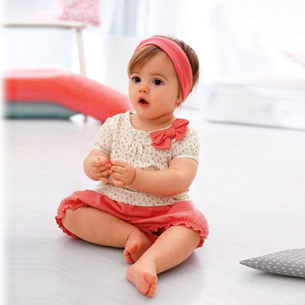 Newborn Baby Girls Summer Tops T-shirt Bow Dots Pants Shorts Outfit Clothes Set