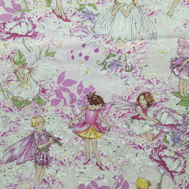 Charming Pink Flower Fairy Fabric Cotton Fabric Flower Fairy Printed Sewing Material Quilting Home Cloth DIY Girl Dress Fbric