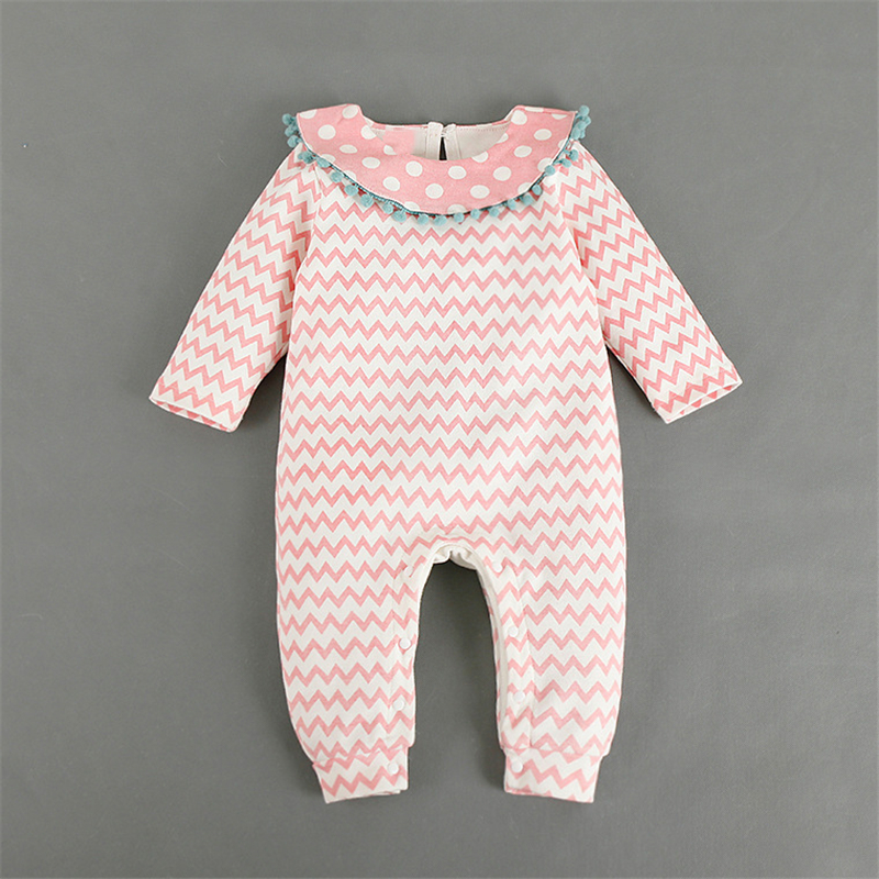 5509a375c26 Baby Girl Fashion Romper Autumn Polka Dot Baby Romper Wave Striped Newborn  Jumpsuit Ropa Bebe Body Sweet Baby Princess Clothes-in Rompers from Mother    Kids ...