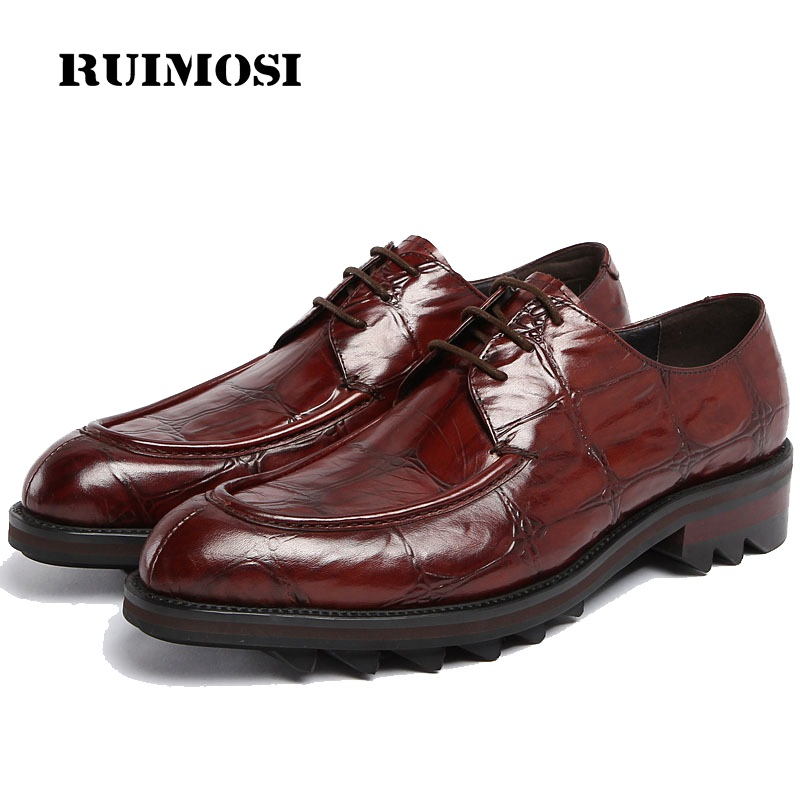 RUIMOSI Hot Sale Formal Man Flat Platform Dress Shoes Genuine Leather Designer Oxfords Luxury Brand Men's Footwear For Male FG52