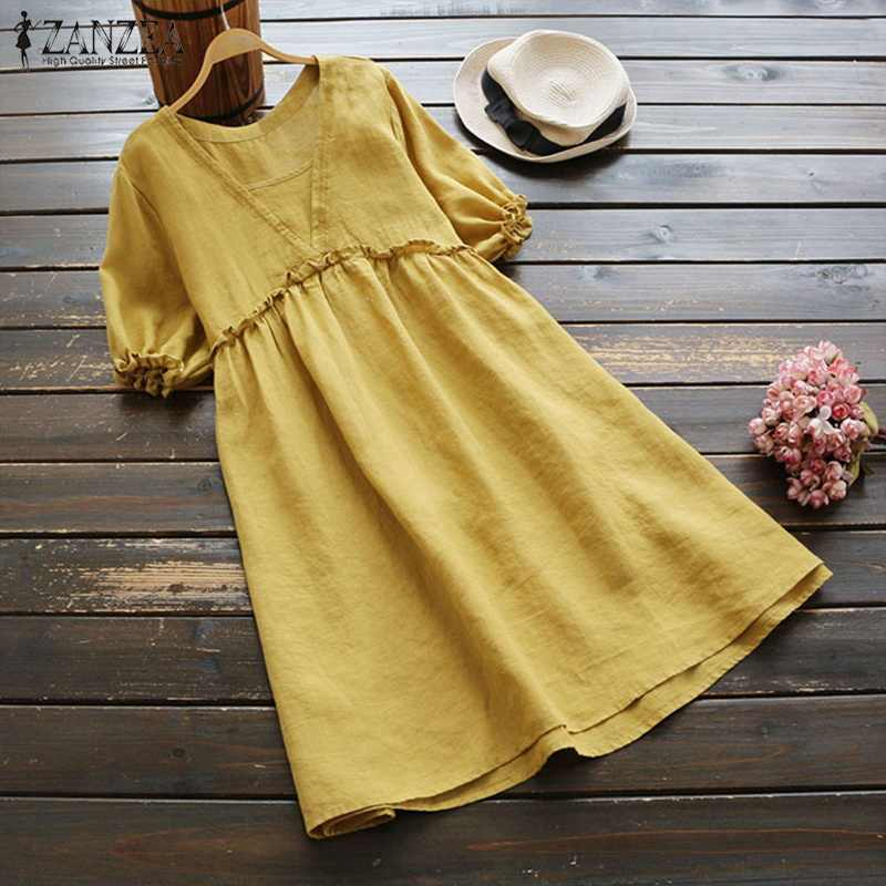 ad71c53702 ZANZEA 2018 Women Vintage Short Sleeve Solid Loose Ruffles Shirt Summer  Long Top Casual Cotton Linen
