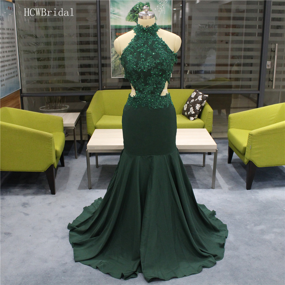 Backless Dark Green Mermaid   Prom     Dresses   2019 Chic Beaded Lace Sleeveless Elastic Satin Long Cheap Evening Gowns Real Photos