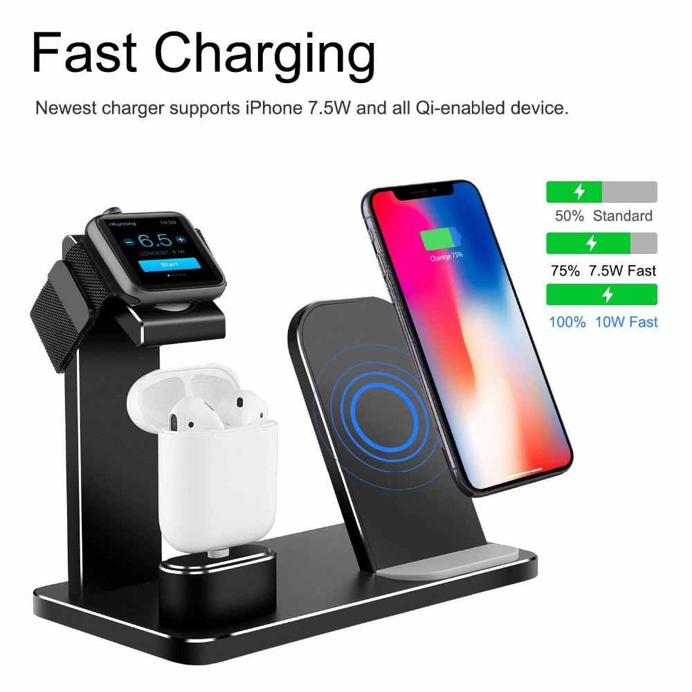info for 23530 0d06e 3 In 1 Charging Dock Station Bracket Cradle Stand Holder Charger For IPhone  XR X 8 Wireless QI Dock For Apple Watch 2 3 4Charger