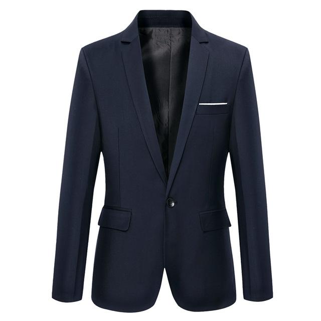 Roupas casuais casaco fino dos homens novos homens de cor sólida único botão blazer drop shipping