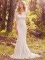 Sirena del cordón de Boho Vestidos de La Boda Modesta Medias Mangas Botones Volver Sexy vestido de Novia Sin Espalda 2017 vestidos de novia de Alta Gama