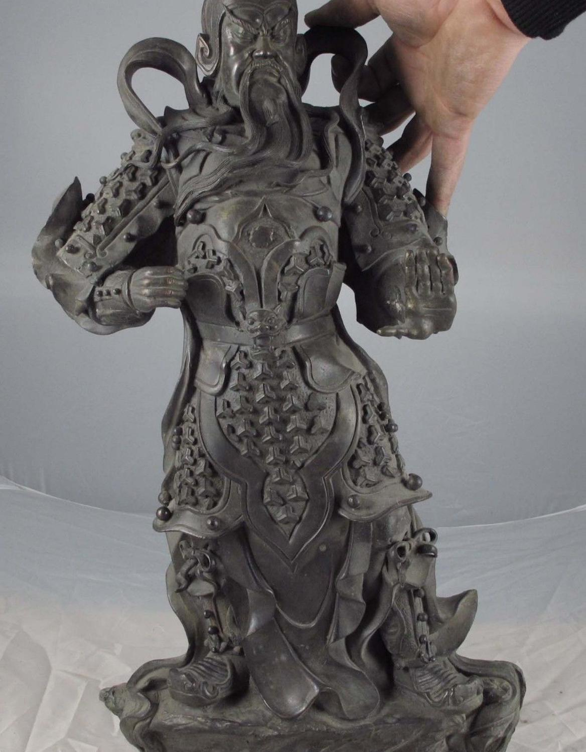 22 China Old Copper Bronze Army General Guan Gong GuanYu Warrior God Art Statue