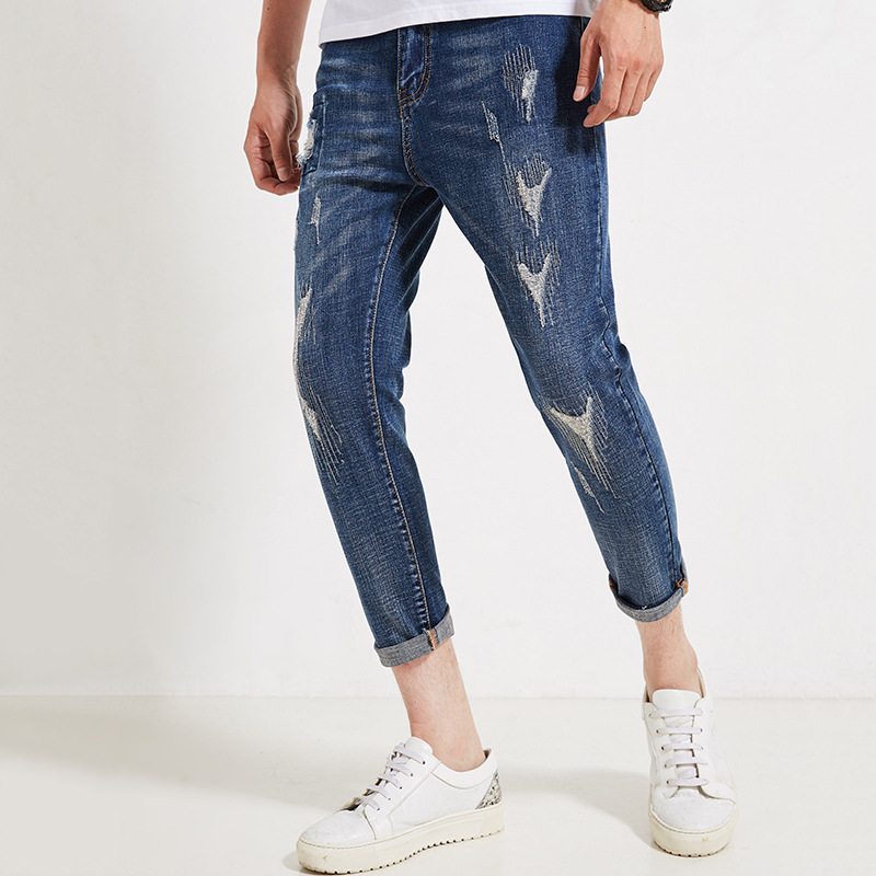 Jeans Men 2019 Summer trend jeans Men's Blue Cropped trousers Korean version of Loose Mid-rise Slim jeans More Size 28-35 36(China)