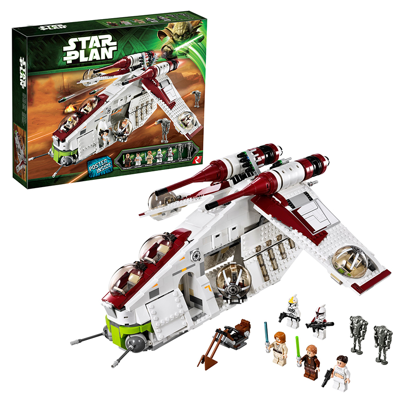 Lepin 05041 Star Wars Republic Gunship building bricks blocks Toys for children Game Weapon Compatible with  Bela Decool 75021 lepin 02012 city deepwater exploration vessel 60095 building blocks policeman toys children compatible with lego gift kid sets
