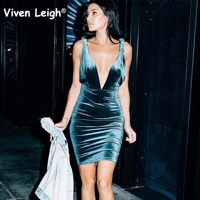 e08d96c21d Sexy Deep V Neck Backless Velvet Dress 2017 Autumn Women Plunge Bodycon  Mini Dress Party Clubwear Vestidos De Fiesta