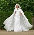 Mulheres de longo Branco Marfim Casacos Guarnição da Pele Do Falso Do Casamento do Natal Do Inverno Capa De Noiva Deslumbrante vestido de Casamento Wraps Partido Capa Com Capuz Jaqueta