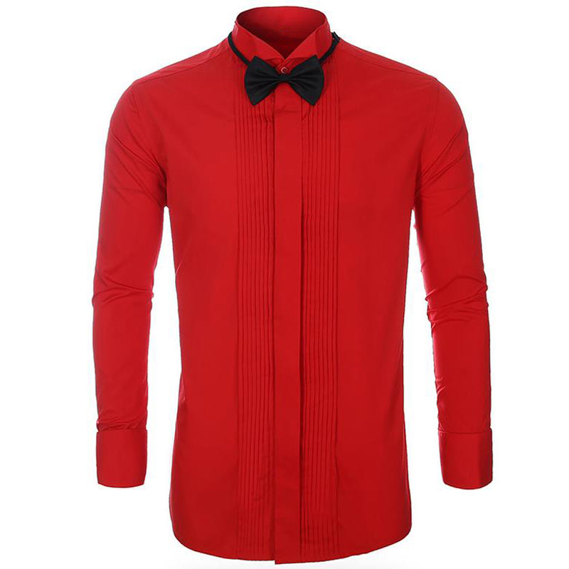 Formal Dress Suit Shirt Man Black Red White Color Plus Size 5XL Wedding Shirt European And American Mens Top Clothing Brand A709