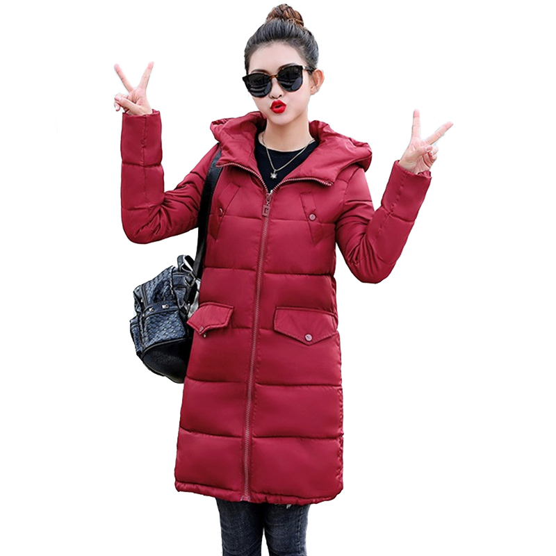 2018 Winter   Parkas   Women Cotton Jacket Hooded Tops Female Thick Warm Cotton-padded jacket Students Loose Long Down cotton jacket