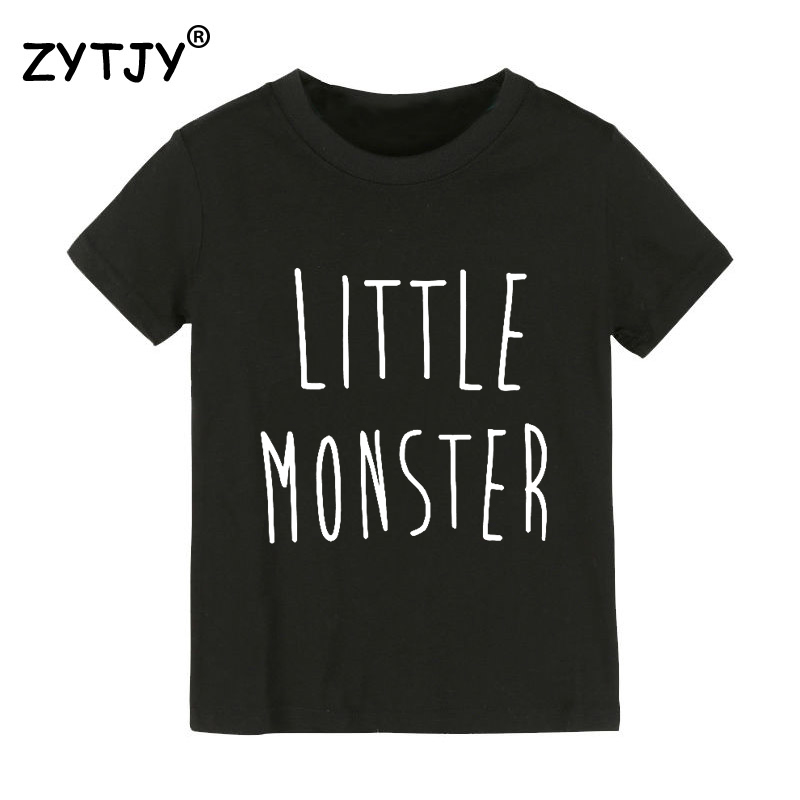 Little monster Letters Print Kids tshirt Boy Girl t shirt For Children Toddler Clothes Funny Tumblr Top Tees Drop Ship Y-129