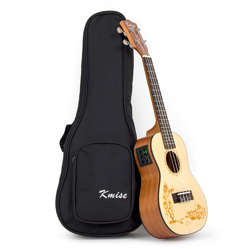 Kmise Electric Acoustic Ukulele Concert Solid Spruce 23 inch 18 Frets Ukelele Uke 4 String Hawaii Guitar with Gig Bag soprano concert tenor ukulele bag case backpack fit 21 23 inch ukelele beige guitar accessories parts gig waterproof lithe