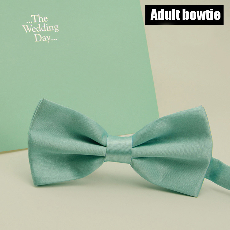 Fashion Mint Green Bowtie Men Wedding Party Solid Color Ties