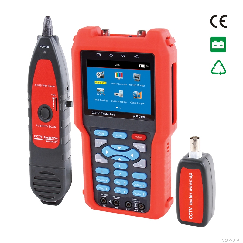 Original Noyafa NF-706 Multifunctional Analog CVBS Signal RJ45 BNC and Metal Cable Length Optical Power Meter CCTV Cable Tester free shipping noyafa nf 906c new optical power meter 850 1300 1310 1490 1550 1625nm and detecting range dbm 50 26