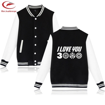 I Love You 3000 Baseball Jackets Women 2019 Autumn Fleece Hip Hop Jackets Ironman Funny Printed Outwear Fashion Oversize Clothes