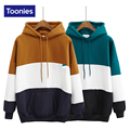 2017 Winter Women's Fashion Kpop Streetwear Hoody Pullover with A Hood Fleece Hoodie Thickened Patchwork Color Cotton Sweatshirt