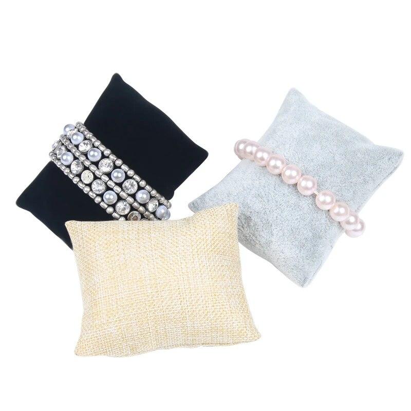 10pcs lot velvet watch cushions pillow for case storage box wrist bracelet display stand holder organizer 4 colors