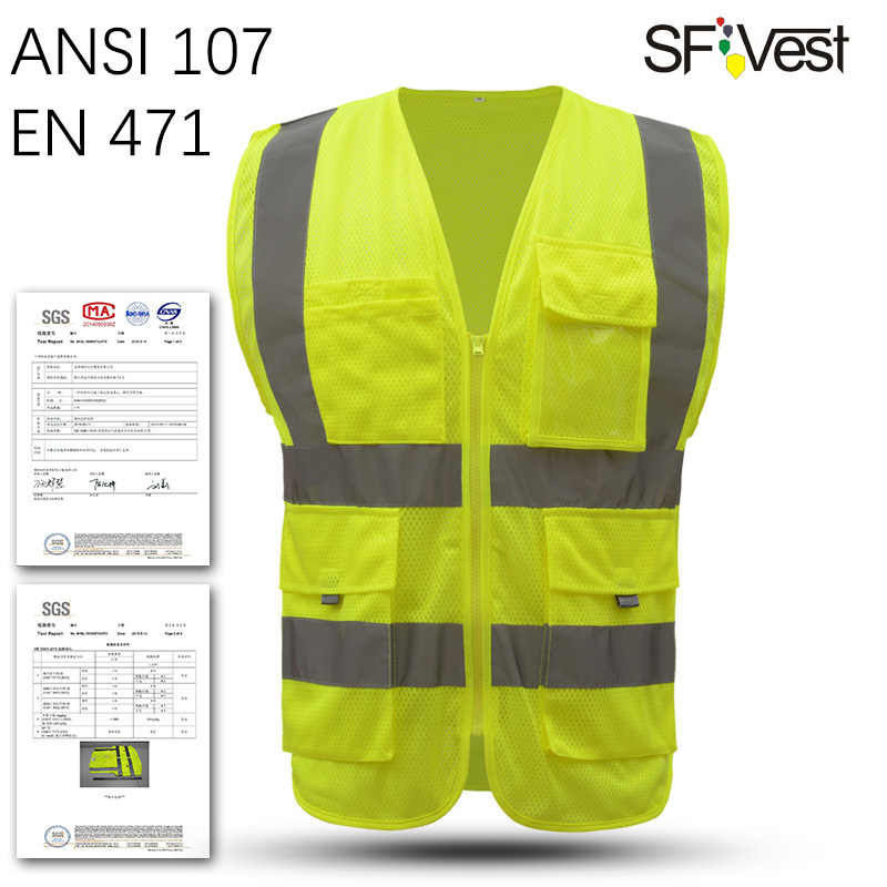 SFVEST HI VIS VIZ EXECUTIVE VEST HIGH VISIBILITYWORK WAISTCOAT REFLECTIVE SAFETY SECURITY TOP ORANGE YELLOW BLUE FREE SHIPPING