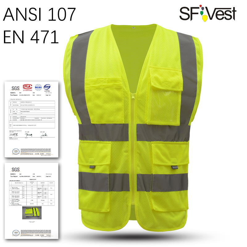 SFVEST HI VIS VIZ EXECUTIVE VEST HIGH VISIBILITYWORK WAISTCOAT REFLECTIVE SAFETY SECURITY TOP ORANGE YELLOW BLUE FREE SHIPPING sfvest vest high visibility hi viz reflective safety waistcoat traffic vest multi pocket waistcoat for fix repair free shipping