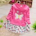 Весна одежда хлопок платье девушки высокой моды платье детские симпатичные принцесса платье с длинным рукавом детская одежда