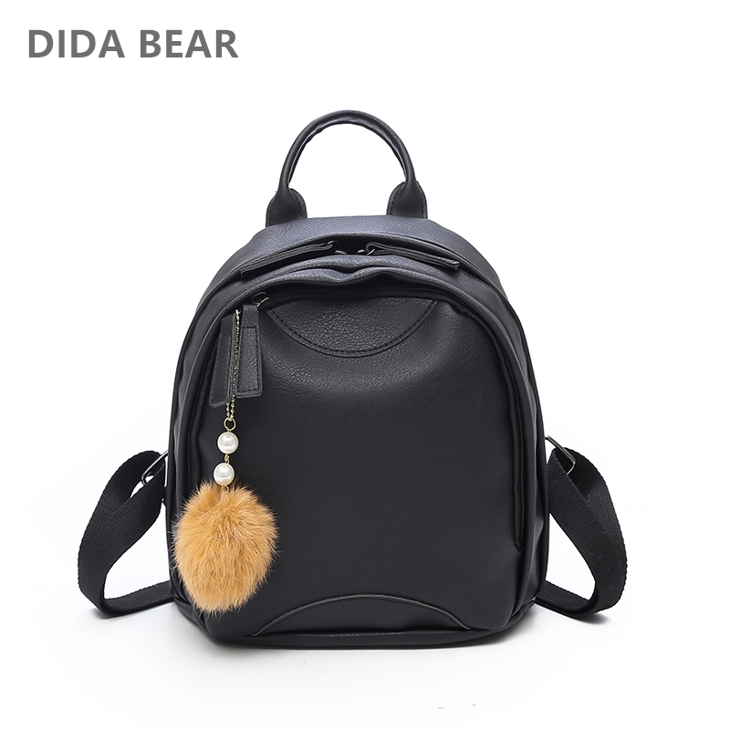 DIDA BEAR 2018 Women Leather Backpacks Female School Bag For Teenagers Girls Small Trave ...