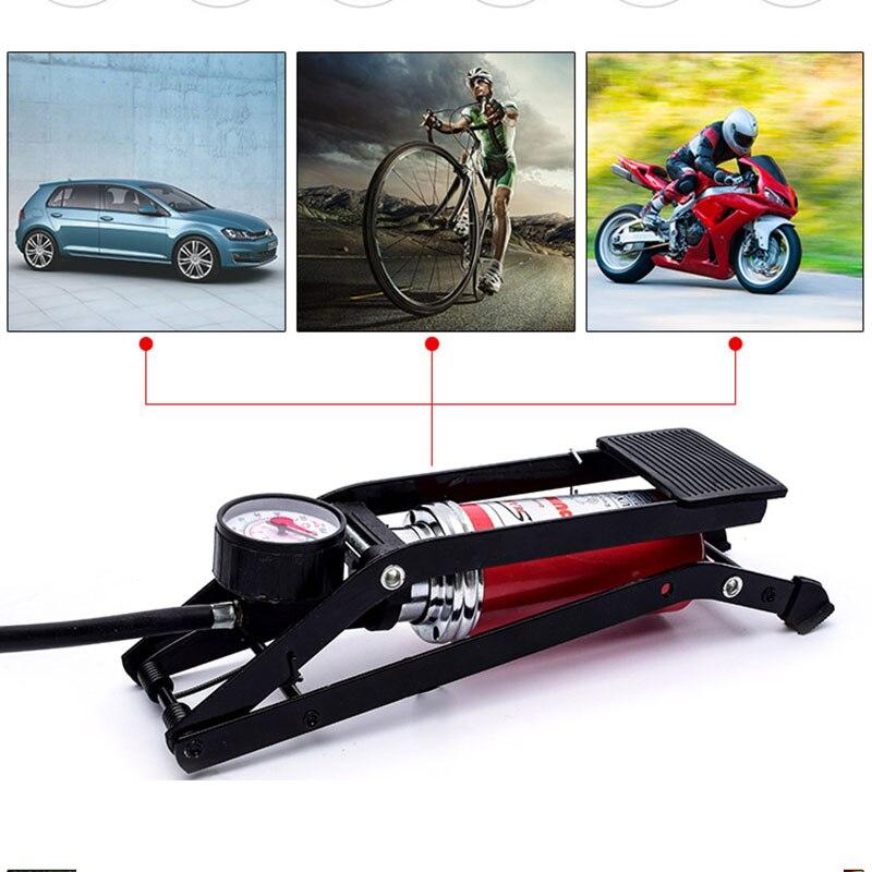 Universal Bicycle Mtb Bike Aluminum Alloy Foot Air Pump Portable High Pressure Steel No Slip Pump For Bicycle Car Tire Bicicleta