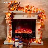OurWarm Halloween Maple Leaves Garland Lighted Fall Garland 3m Long String with 30 LED Lights Festive DIY Decoration