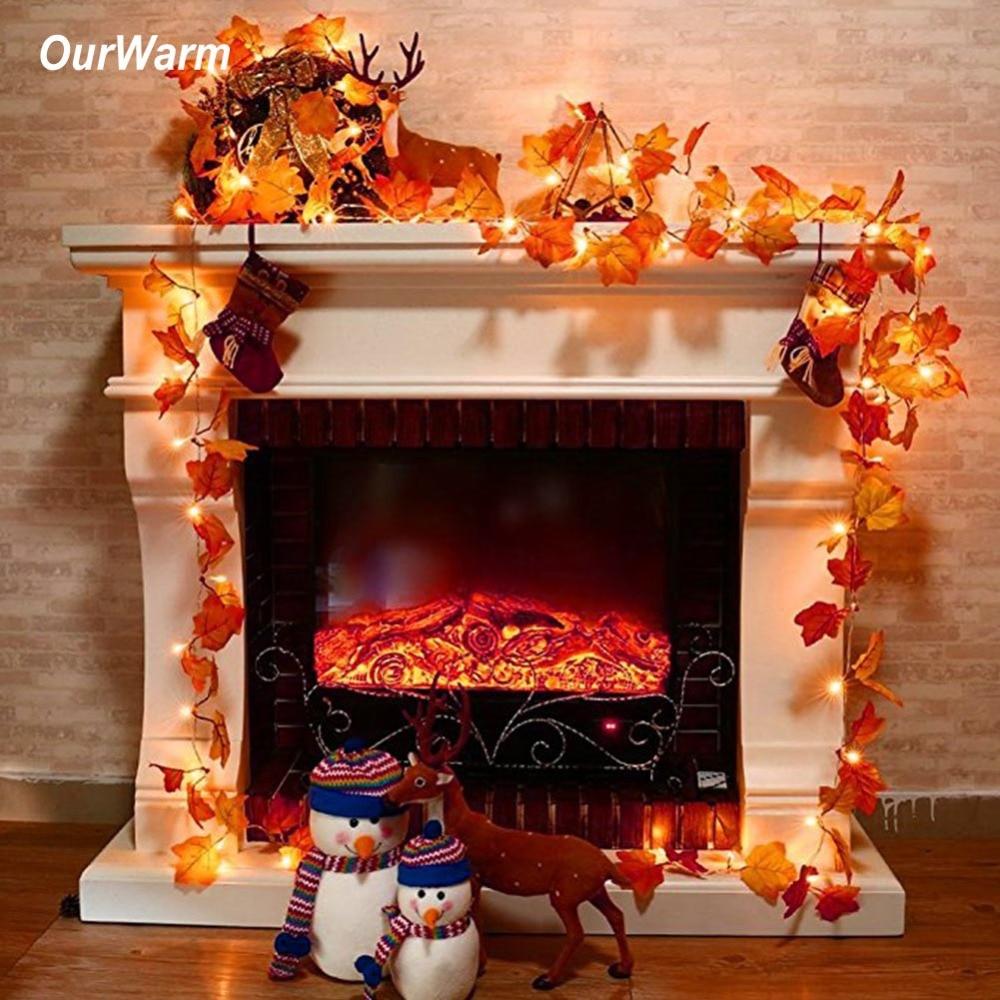 Ourwarm dia das bruxas folhas de bordo guirlanda iluminado queda guirlanda 3m corda longa com 30 luzes led festivo decoração diy