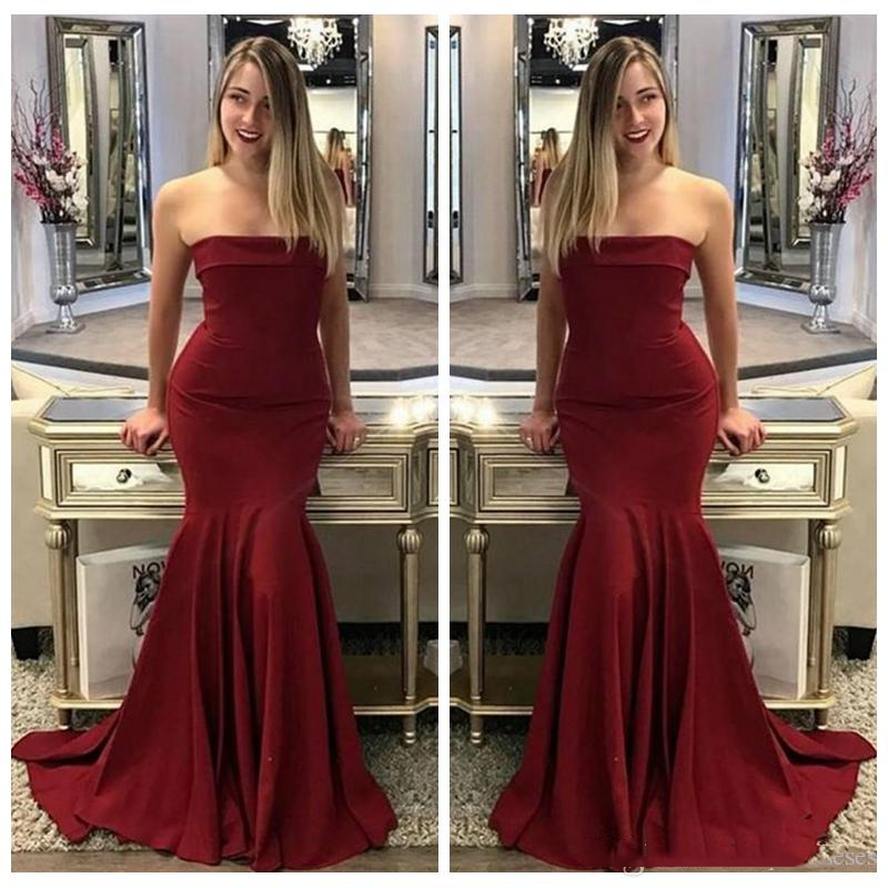 Burgundy Mermaid   Bridesmaid     Dresses   2018 Sexy Strapless Floor Length Party Gowns Robe De Soiree Prom   Dress   Custom Made