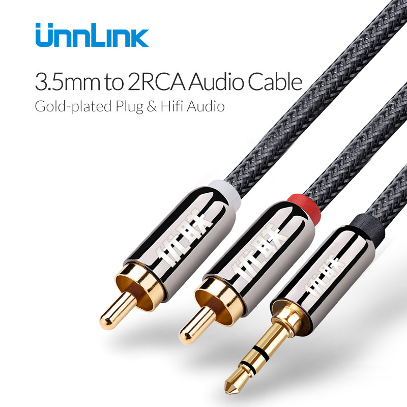 Unnlink 3.5mm Jack a 2 RCA Cavo rca Audio Cable Aux Cavo di Nylon Intrecciato per Cuffie Amplificatore Home Theater iPhone dell'edifer