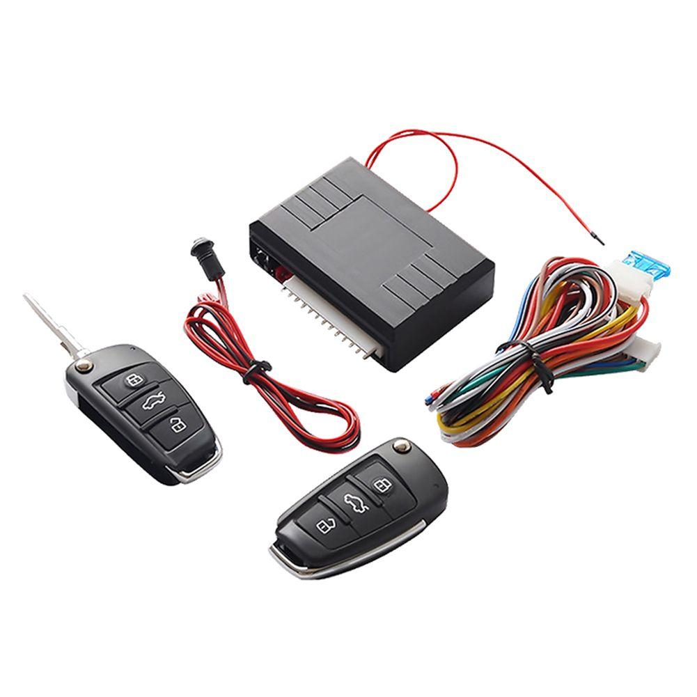Universal Car Auto Keyless Entry System Button Start Stop LED Keychain Central Kit Door Lock with Remote Control Burglar Alarm     - title=