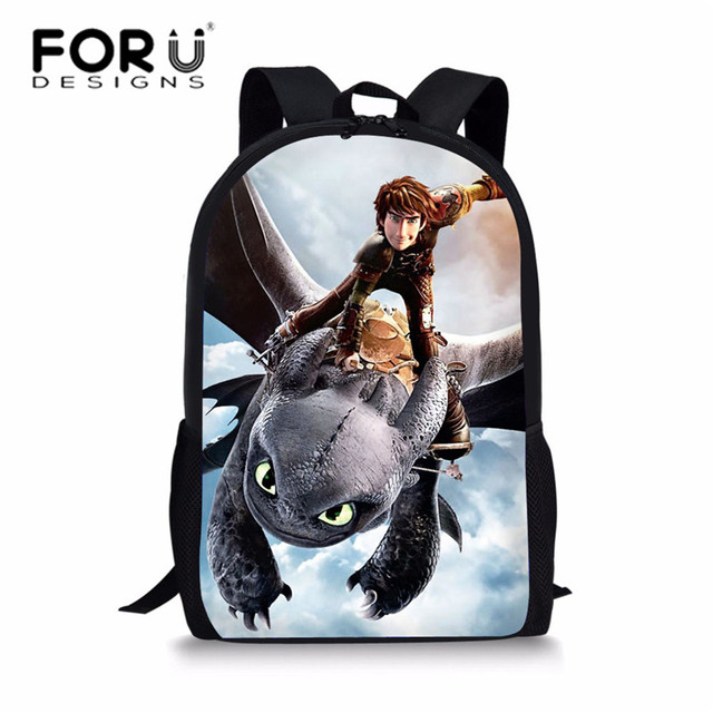 FORUDESIGNS School Bags for Kids Cartoon Anime How to Train Your Dragon Printing Schoolbag Children Shoulder Bags Boys Satchel