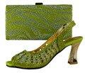 281 (2) Envío de la alta calidad ventas de la Fábrica verde zapatos Italianos y bolsas para que coincida con las mujeres/italiano zapatos con bolso a juego