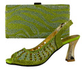 281(2)Factory  sales Free Shipping high quality green Italian shoes and bags to match women/italian shoes with matching bag