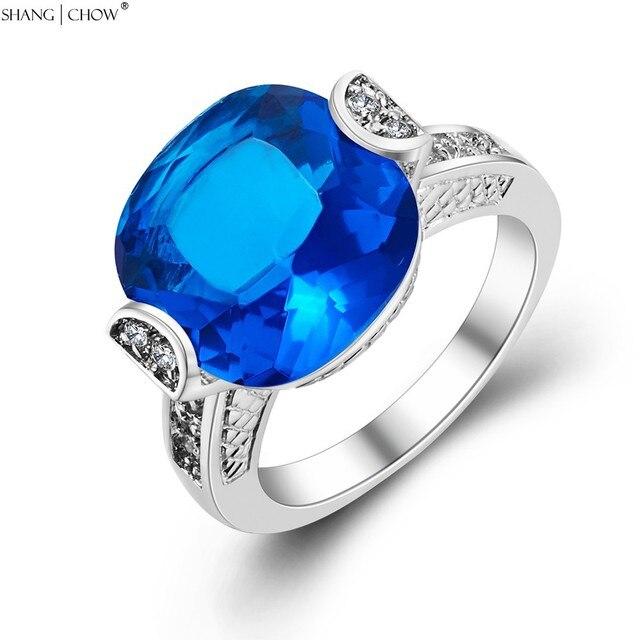 Модные ювелирные изделия для женщин коктейльные аксессуары для выпускного золотого цвета вокруг синего кристалла кольцо из стерлингового серебра 925 R1239
