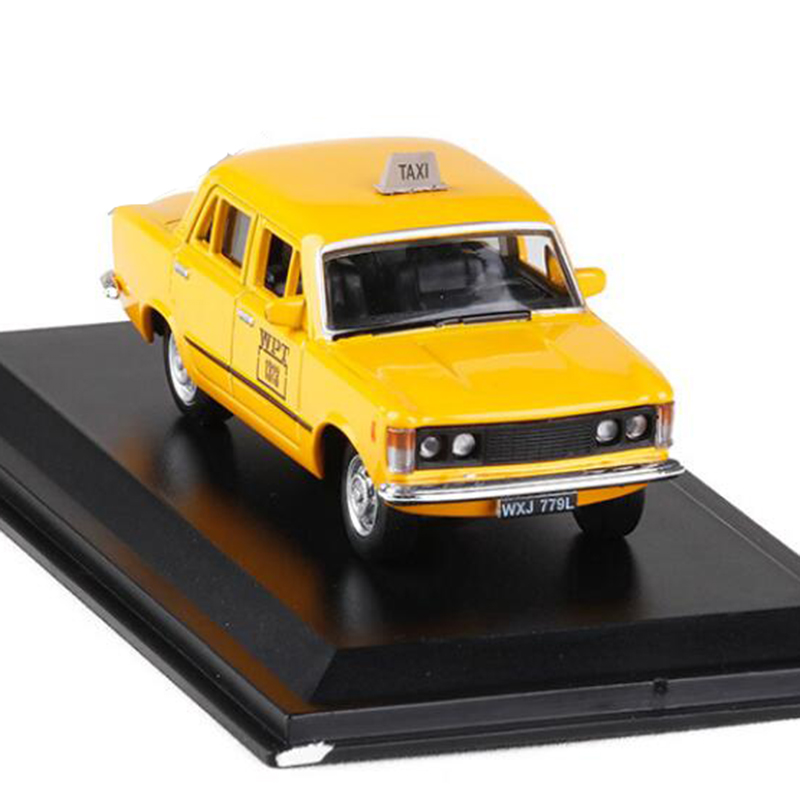 Yellow Color <font><b>1</b></font>:<font><b>43</b></font> Scale Metal Alloy Classic <font><b>FIAT</b></font> 125P Varsavia 1980 Cab Taxi <font><b>Car</b></font> <font><b>Model</b></font> Diecast Vehicles Toy F Collect Decoration image