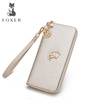 FOXER Famous Brand Girls Casual Clutch Bags Women Purse Fashion Gold Lady Leather Long Wallets Free