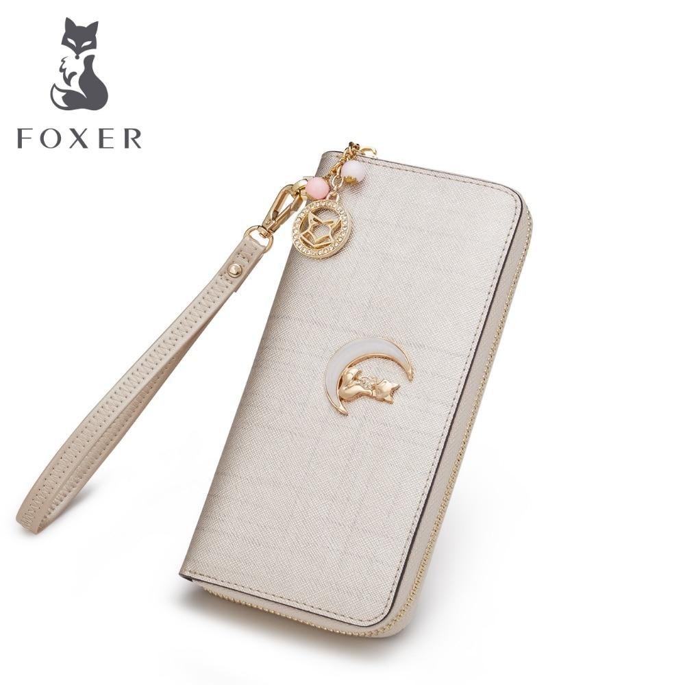 FOXER Brand Women's Leather Wallet Casual Clutch Bags Women Fashion Purse Women Wallet Female long Wallets