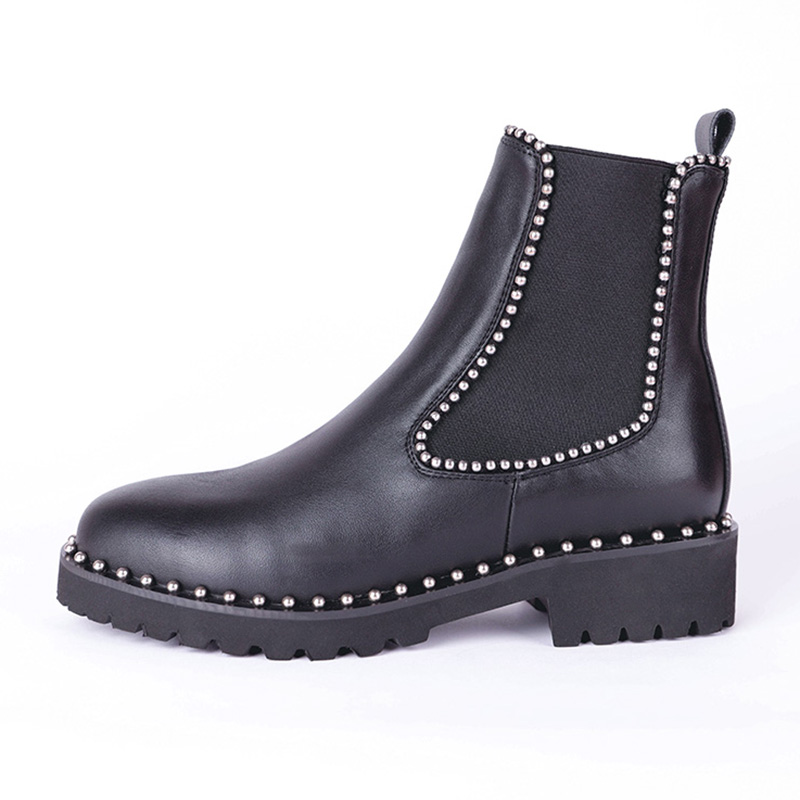 Taoffen British Style Ankle Boots Women Genuine Leather Elastic Band Flats Shoes Rivets Round Toe Women Footwear Size 33-43 1