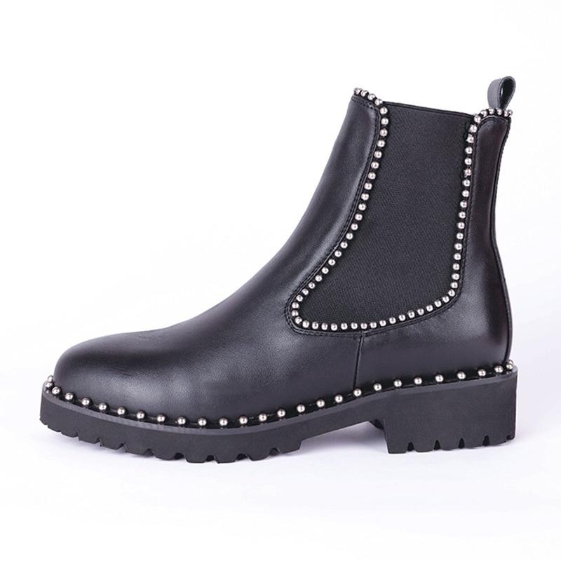 Image 2 - Taoffen/ботильоны в британском стиле; женская обувь на плоской подошве из натуральной кожи с эластичными лентами; женская обувь с заклепками и круглым носком; размер 33 43-in Полусапожки from Обувь