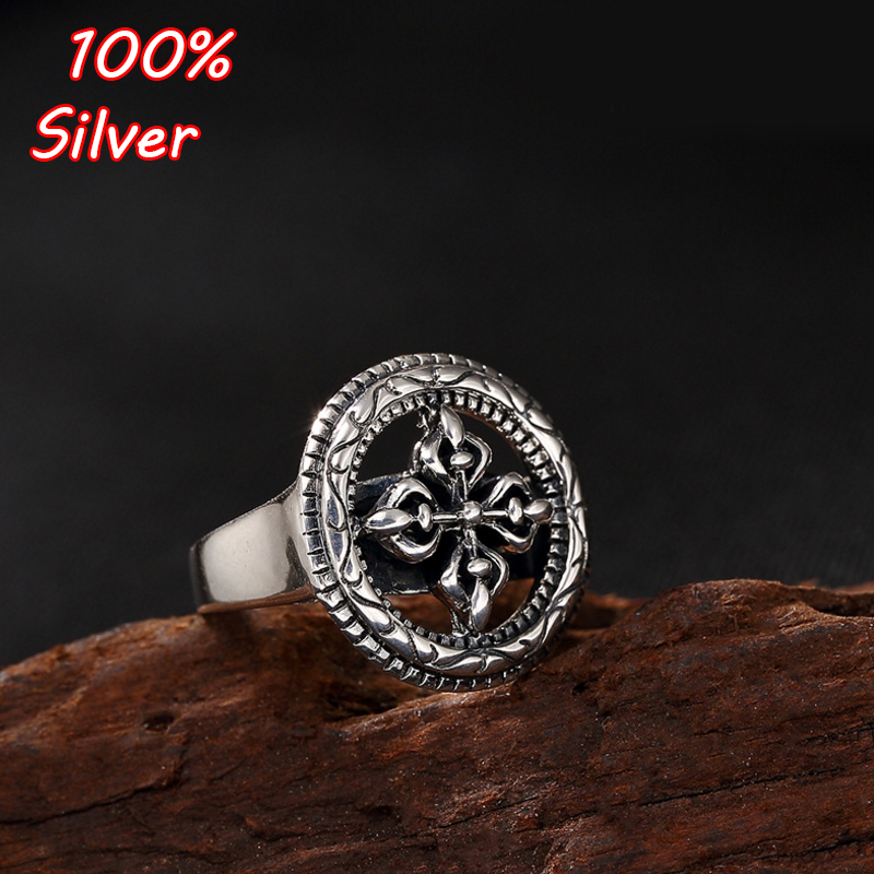 S925 Sterling Silver Hollow Thai Silver Buddhist Vajra Dorje Ring Men Women Spinning Ring s925 sterling silver vintage six buddhist mantra rotating personality ring ring and old thai silver jewelry