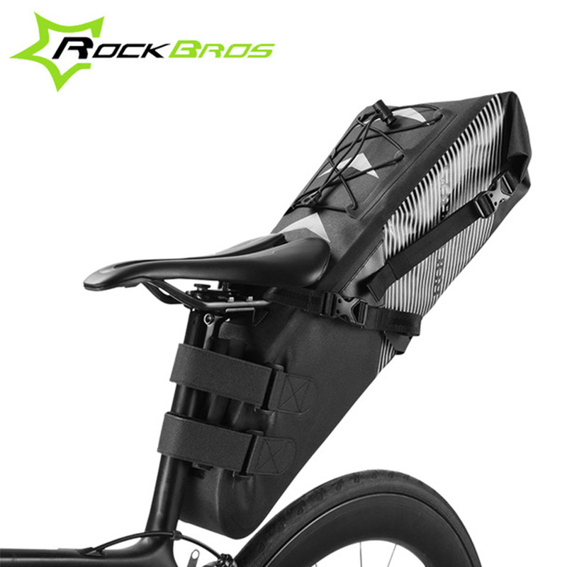 ROCKBROS Large Capacity Foldable Bicycle Saddle Bag Reflective Waterproof Nylon Tail Rear Bag Cycling MTB Bike Trunk Pannier Bag d28 600d nylon waterproof bicycle saddle bag black