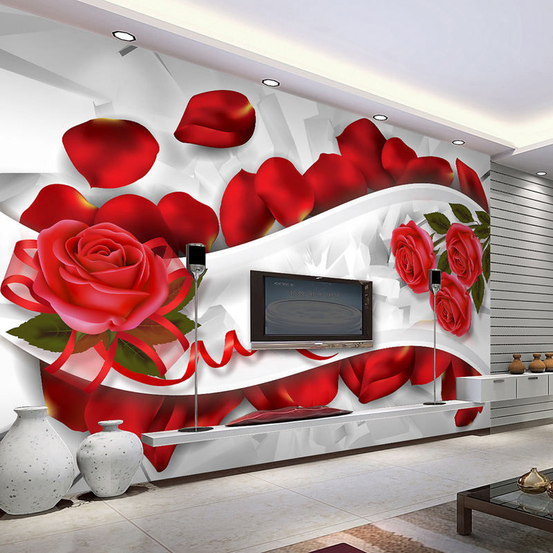 Romantische 3d wallpaper wandbild rote rose photo tapete for Rote tapete