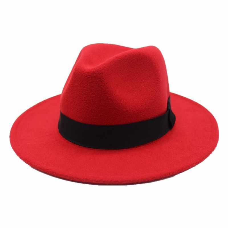 025e11f3747cb3 Seioum Spring Wide Brim Fedora Men Women Vintage Jazz Hats Fashion Stars  Wool felt hat Unisex