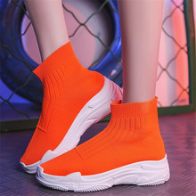 Knitted Elastic Mesh High-top women's shoes 2019 Spring Autu