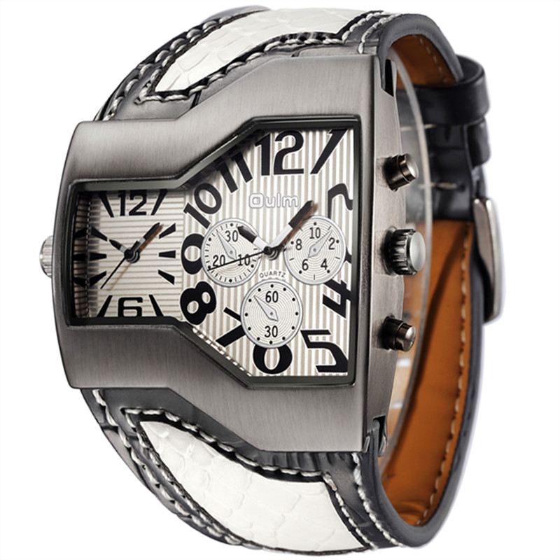 Oulm Authentic Tag Brand Watches Men Serpentine Leath #
