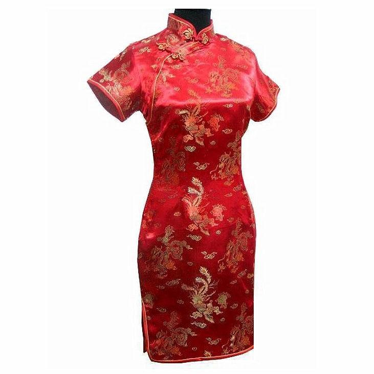 Mode Rouge Printemps Dames Satin Mini Cheongsam Qipao Robe De Soirée - Vêtements nationaux - Photo 1
