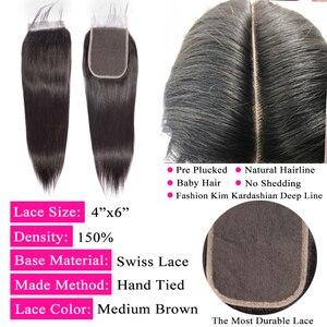 Image 5 - Queenlike ישר 4*6 Kim K סגירת מראש קטף עם תינוק שיער קו שיער טבעי ברזילאי רמי שיער טבעי 4x6 תחרה סגירה